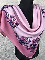 Женский шерстяной платок в украинском стиле розового цвета с цветочным принтом и растительными узорами, фото 1