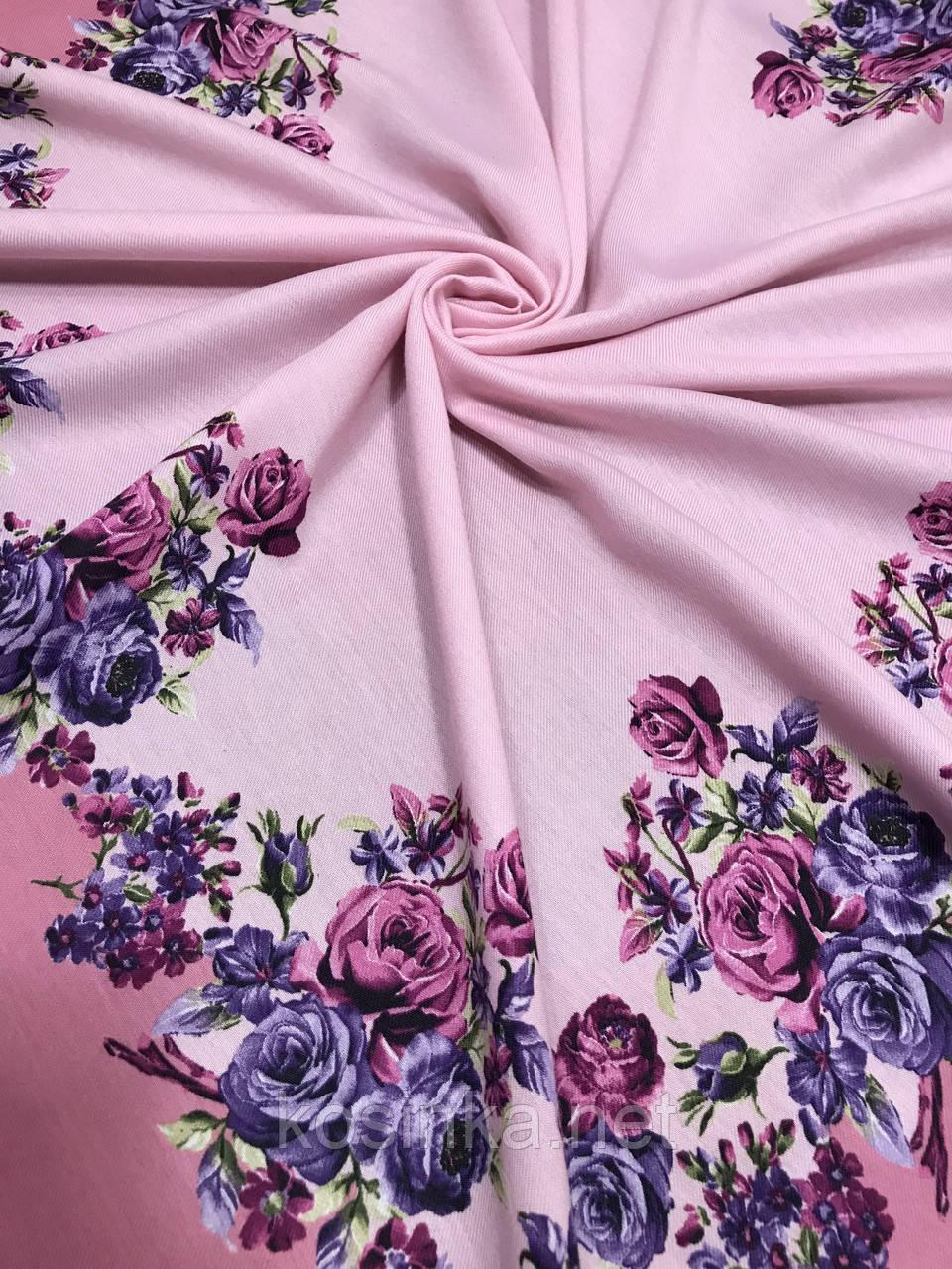 Женский шерстяной платок в украинском стиле розового цвета - Kosinka.net