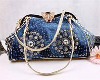 Модная женская сумка. Сумка женская джинсовая со стразами. Сумочка женская из денима (синяя), фото 1