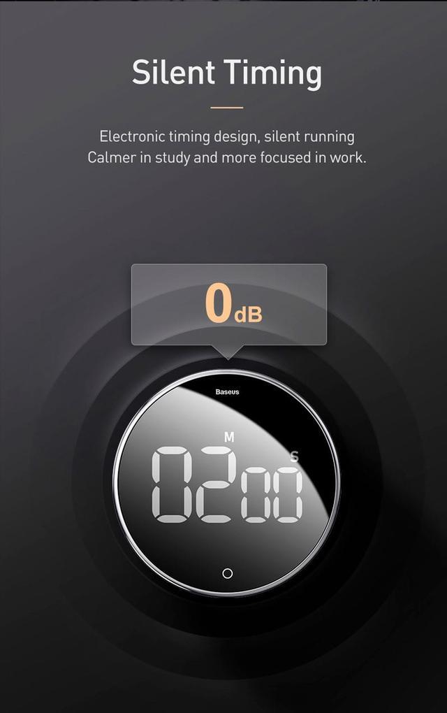 Таймер з цифровим LED дисплеєм на магнітній основі Baseus Heyo rotation countdown timer ACDJS-01/YGH-5237