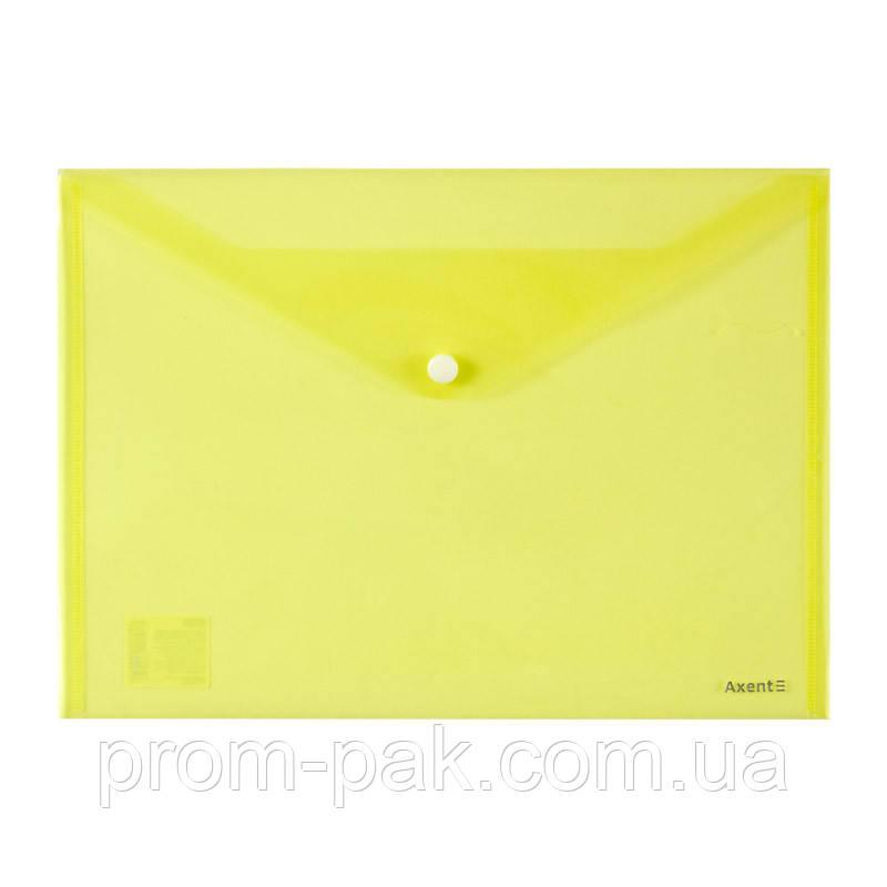 Папка на кнопке А4, AXENT,желтый
