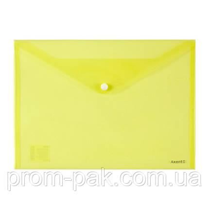 Папка на кнопке А4, AXENT,желтый, фото 2