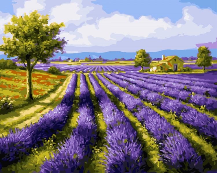 """Картина за номерами Brushme """"Пейзаж. Природа. Лавандові поля"""", 40*50см, GX8998"""