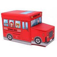 """Детский пуф (корзина для игрушек) """"Автобус красный"""" (Украина)"""