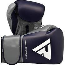 Боксерские перчатки RDX Leather Pro C4 Blue 12 ун., фото 2