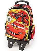 Рюкзак Hakancanta Cars Тачки Молния Маквин школьный с детской подставкой на колесах красно-чёрный