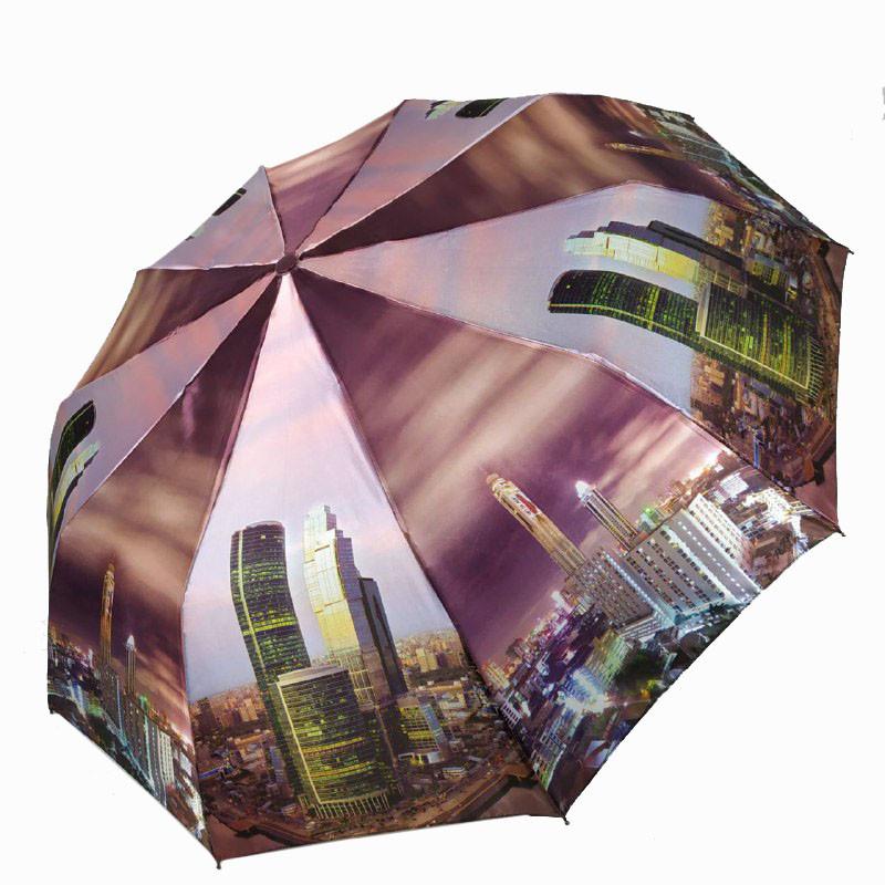 """Складной женский зонт полуавтомат с системой антиветер, """"Ночной город"""" от SL, фиолетовый, 500-1"""