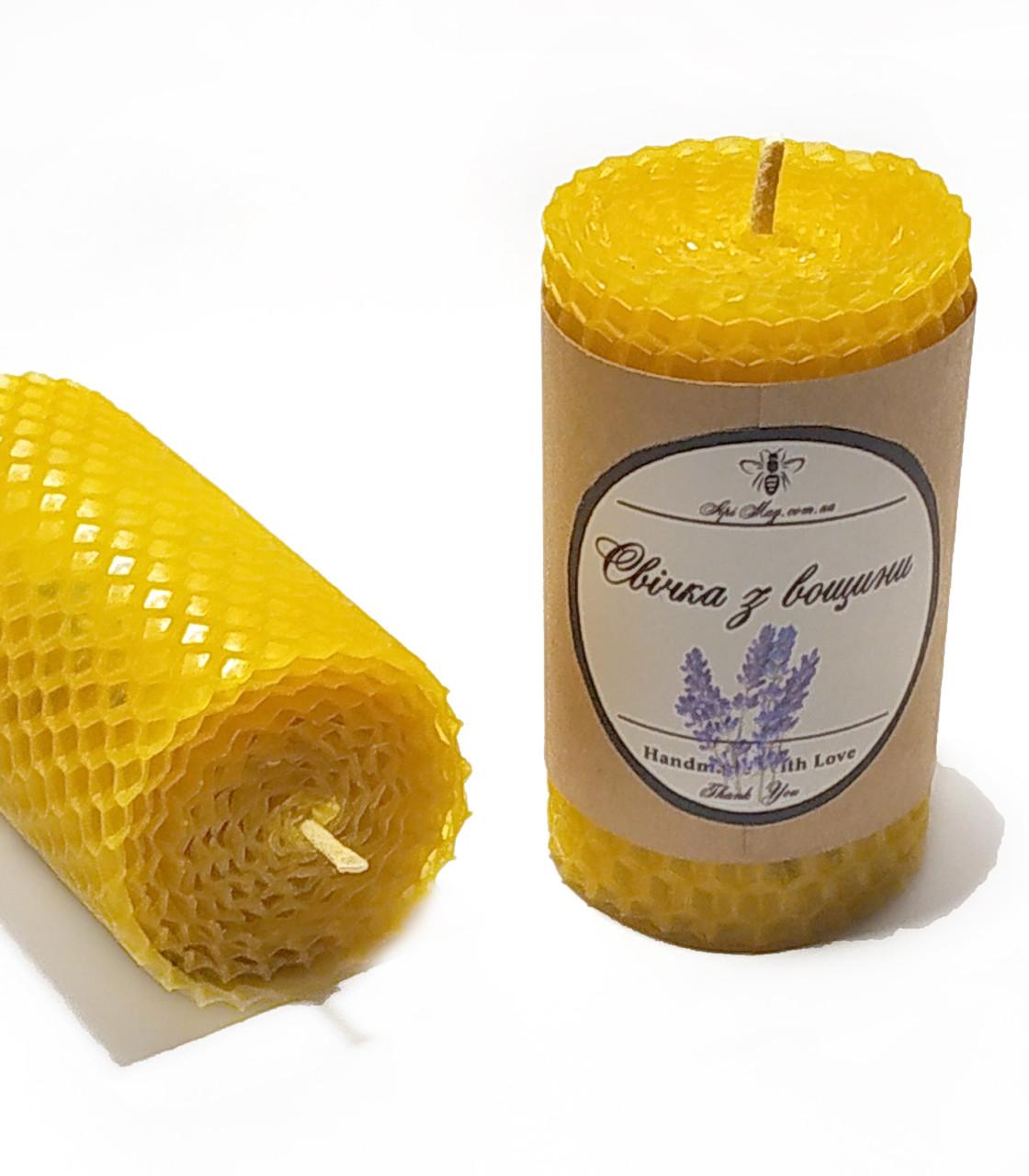 Свічка з вощини з суцвіттями і ефірним маслом лаванди (5 годин горіння)