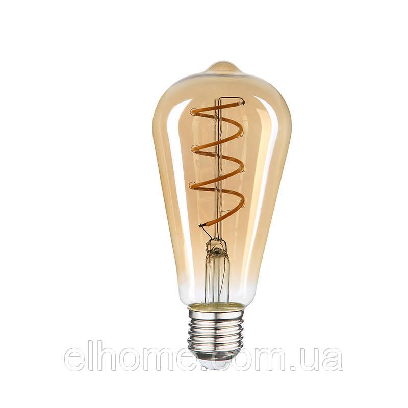 "Лампа LED Vestum филамент ""винтаж"" golden twist ST64  Е27 4Вт 220V 2500К"