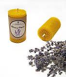 Свічка з вощини з суцвіттями і ефірним маслом лаванди (5 годин горіння), фото 3