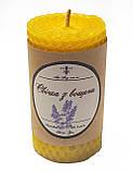 Свічка з вощини з суцвіттями і ефірним маслом лаванди (5 годин горіння), фото 4