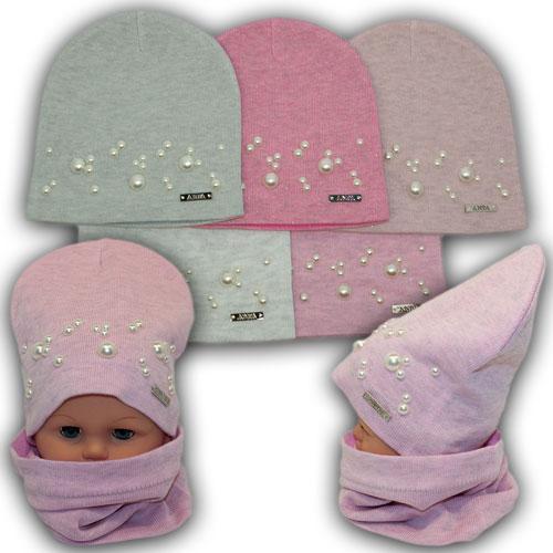 Весенние детские шапки с бусинками и хомутом
