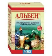 Альбен 100 таб. протиглисний засіб для сільськогосподарських тварин.