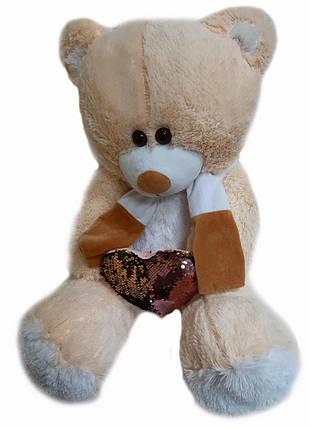 """М'яка іграшка """"Ведмідь Пусик"""", з серцем, персиковий, МР85ЅМсердце-персиковий, фото 2"""