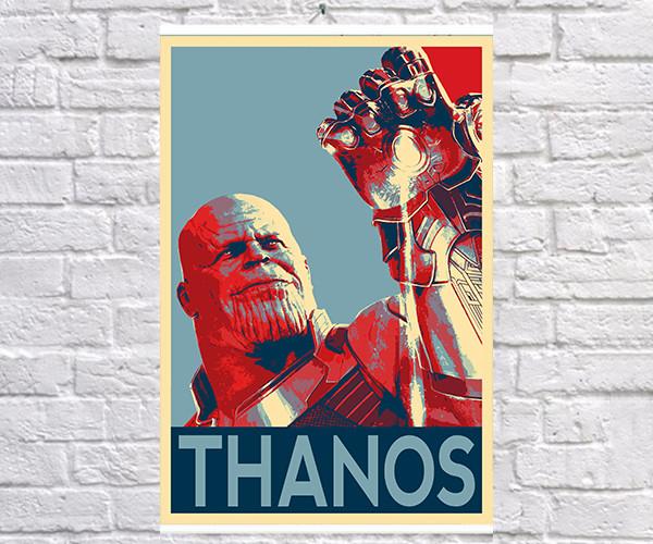 Постер плакат BEGEMOT Поп-Арт Суперзлодеи MARVEL Танос титан Thanos 40x61 см (1121238)