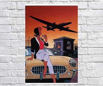 Постер плакат BEGEMOT Стрит-Арт Самолет Ретро 40x61 см (1121330)