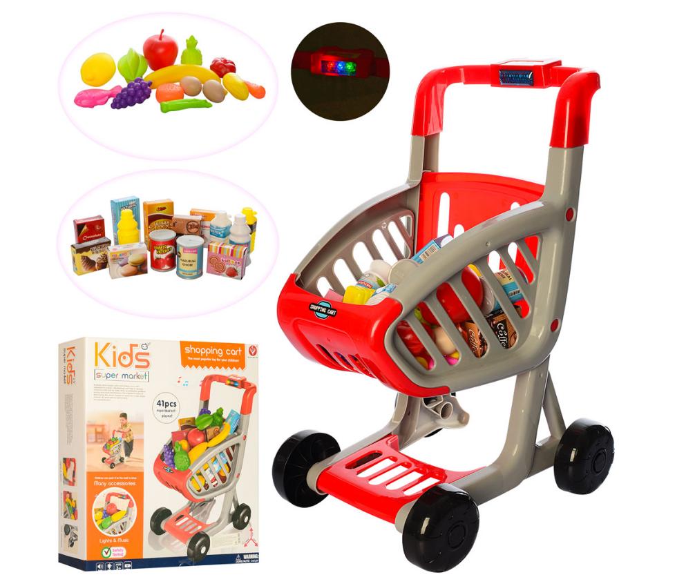 Тележка 922-72 супермаркет с продуктами ( 41 предмет) - детский игровой набор