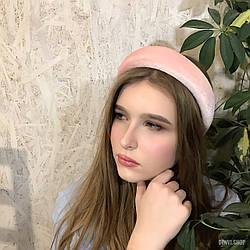 """Оксамитовий об'ємний обруч """"Luxory"""" рожевий"""