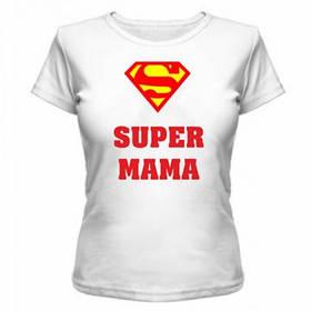 Футболка женская с нанесением Супер Мама летняя с коротким рукавом