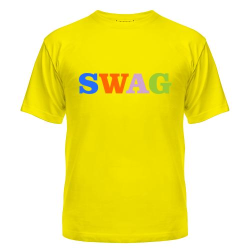Футболка летняя с коротким рукавом с надписью Swag — цветной