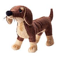 SMÅSLUG Мягкая игрушка, собака, коричневый