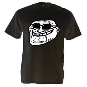 Стильная молодёжная футболка с рисунком Trollface в очках