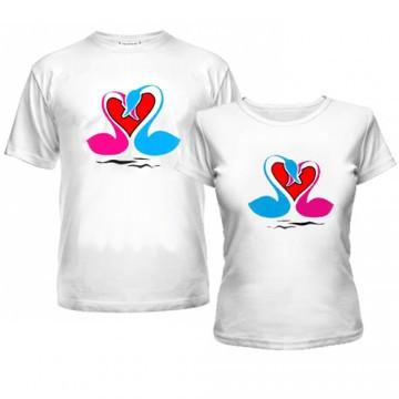 Парные футболки с Лебедями