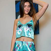 Шелковые пижамы. Комплект Сова цвет бирюзовый. Хит!!, фото 3