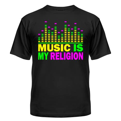 Клубная стильная яркая футболка с принтом Music is my religion