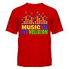 Клубная стильная яркая футболка с принтом Music is my religion, фото 2