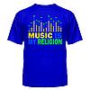 Клубная стильная яркая футболка с принтом Music is my religion, фото 4