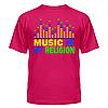 Клубная стильная яркая футболка с принтом Music is my religion, фото 5