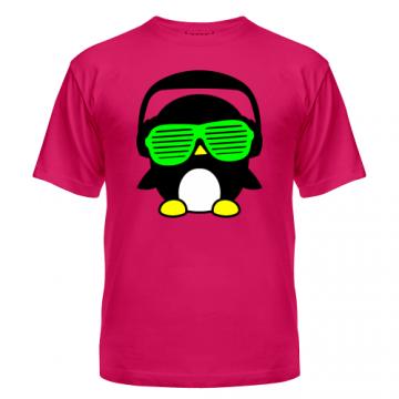 Футболка диско-клубная с ярким рисунком Пингвинчик в очках