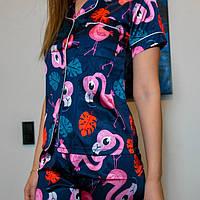 Шёлковая женская пижама.  Классическая рубашка с шортиками. Синяя. Фламинго, фото 5