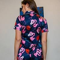 Шёлковая женская пижама.  Классическая рубашка с шортиками. Синяя. Фламинго, фото 4