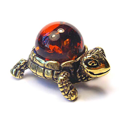 Статуэтка Черепаха миниатюра бронзовая с янтарем