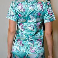 Шёлковая женская  пижама. Комплект! рубашка с шортиками. Голубая. Единороги, фото 5