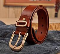 Женский кожаный ремень коричневый.  Модель : 801, фото 2