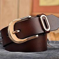 Женский кожаный ремень коричневый.  Модель : 801, фото 3