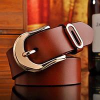 Женский кожаный ремень коричневый.  Модель : 801, фото 1