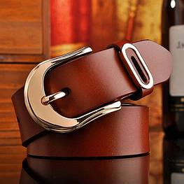 Женский кожаный ремень коричневый.  Модель : 801