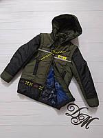 """Куртка-жилет для мальчика """"Офикс"""" на трикотажной подкладке, фото 1"""