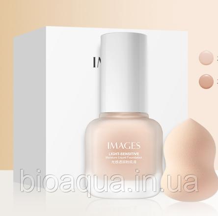 Легкий тональный крем IMAGES Light-Sensitive Foundation 30 ml + спонж № 001 (цвет натуральный)