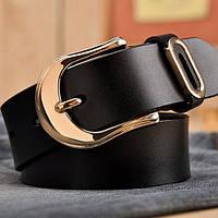 Женский кожаный ремень черный.  Модель : 801