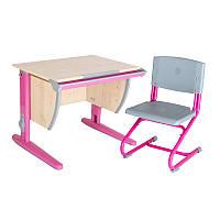 """Набор универсальной мебели """"Дэми"""":  Стол СУТ.14-00 клен/розовый, стул СУТ.01"""