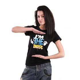 Женская футболка, летняя, чёрного цвета с надписью Im the Best
