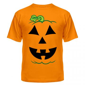 Футболка мужская, с рисунком на Хэллоуин — костюм тыквы