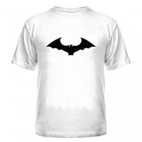 Стильная белая футболка мужская принт летучая мыш