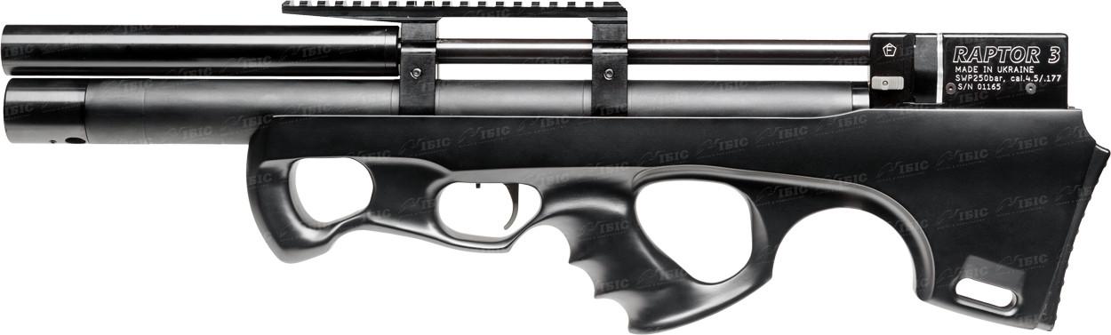 Гвинтівка пневматична Raptor 3 Compact Plus PCP кал. 4,5 мм. Колір - чорний (чохол в комплекті)