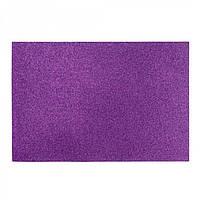 Фоамиран с глиттером EVA, фиолетовый